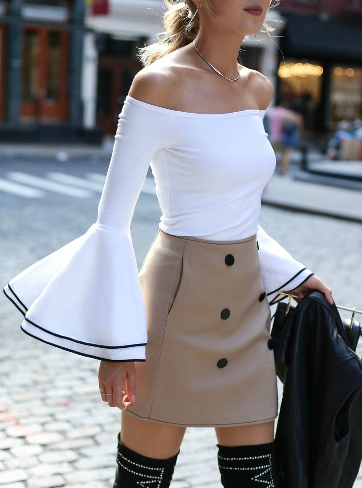 Streetstyle from soho: off-the-shoulder bell sleeve top with black piping, khaki double breasted mini skirt, black over-the-knee studded boots