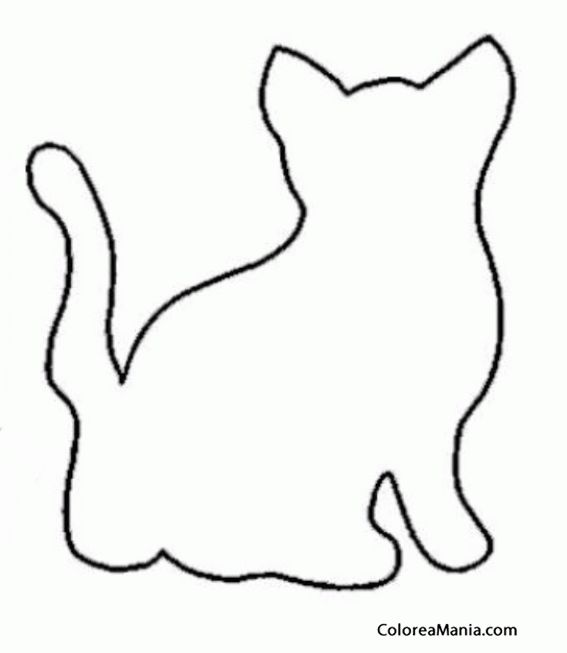 dibujos siluetas de animales | Colorear Silueta de Gato de espaldas ...
