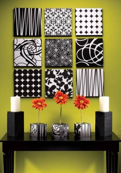 Make wall decor out of styrofoam and scrapbook paper....LOVE!!