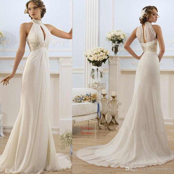 2016 Greek Style Elegant Ivory White High Neck Beaded