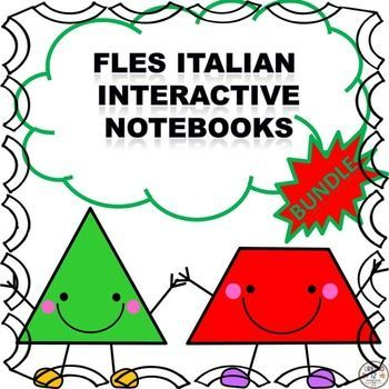 FLES Italian Interactive Notebook Bundle includes four interactive notebooks. Your students will  create a picture dictionary, interact with  the colors, shapes and the American Thanksgiving holiday. Great bundle for back to school! See links below for fu