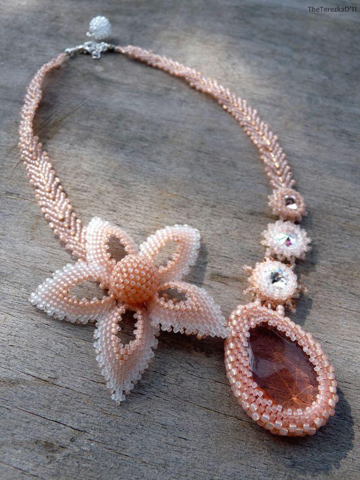 beadwoven necklace with TOHO seed beads and Swarovski rivolis