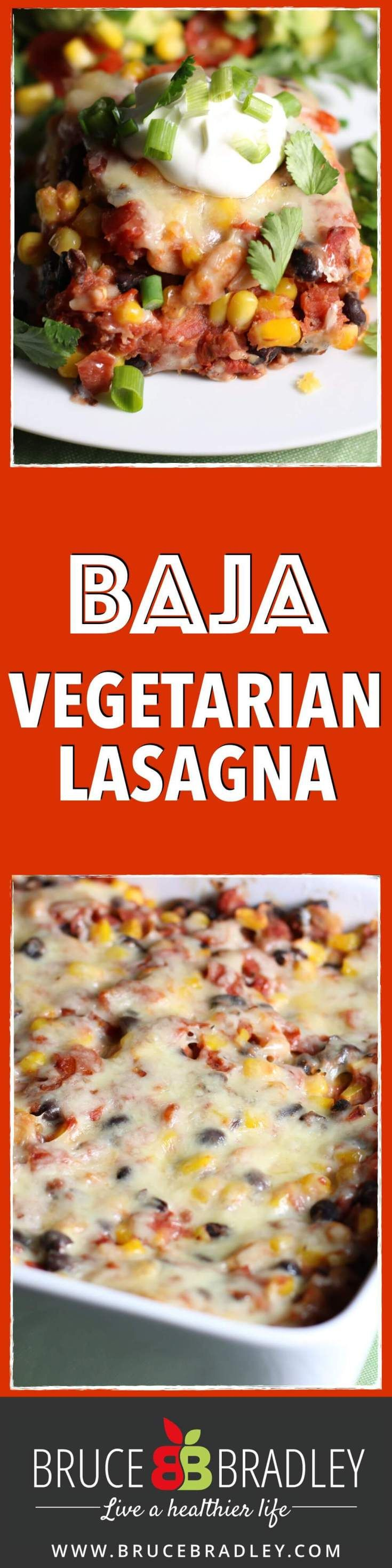 Baha Vegetarian Lasagna is a one-dish, Mexican-inspired lasagna that comes together quickly thanks to mostly canned and frozen real food ingredients!