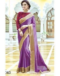 Purple Satin Silk Partywear Saree