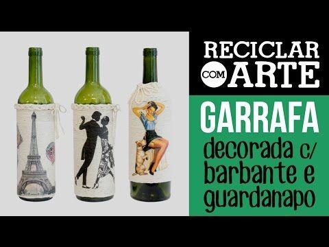 Garrafas decoradas com barbante - Reciclar com Arte - YouTube