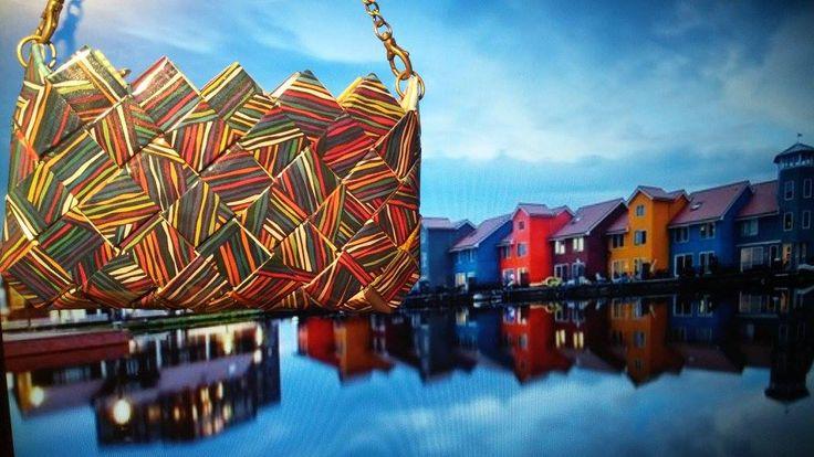 #ColourfulBuildings #Lines #CommeCa #Clutchbag #kit #wrapper #MadeinGreece #GreekDesigners #handmade #art #instaart #Reitdiephaven_Groningen_The_Netherlands photo by Daniel Bosma Kit Υ15cm-Π24cm