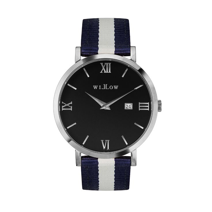 Treviso Silver Watch & Interchangeable Navy Blue & White NATO Strap.
