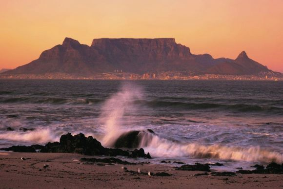 Table Mountain- Flat- topped mountain, also a prominent tourist attraction in South Africa!!