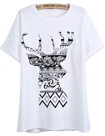 White Short Sleeve Floral Deer Print T-Shirt pictures