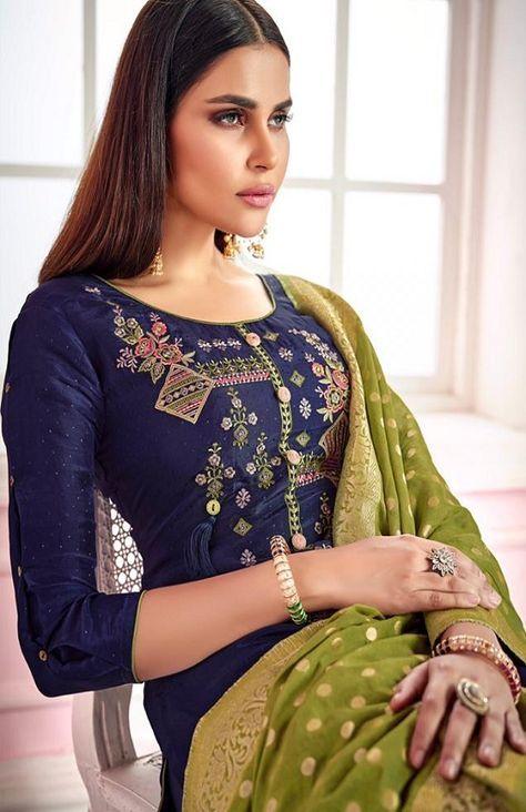 6046fe3448 Kesar Karachi Presents Wedding Collection silk upada with pattern &  Designer elegant embroidery Suits 1003