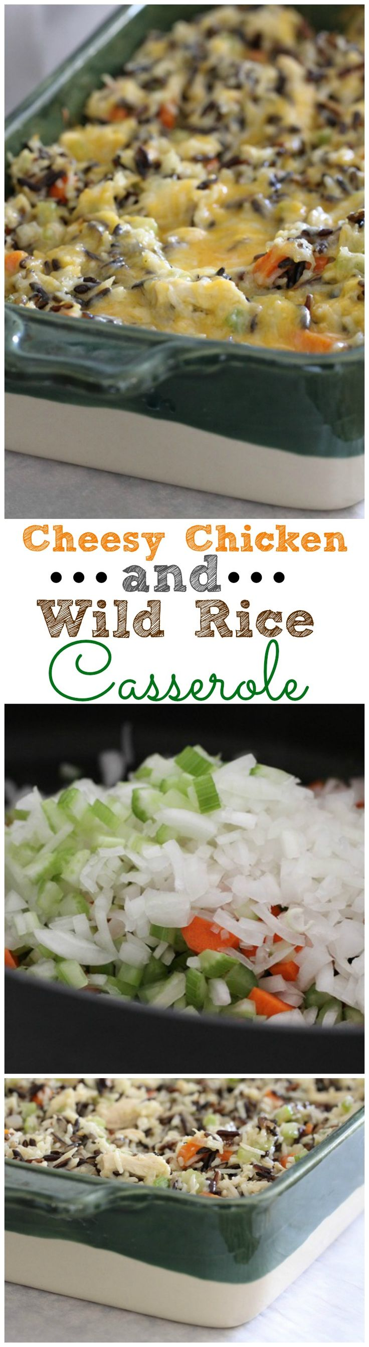 Cheesy Chicken and Wild Rice Casserole.  Great freezer meal to package up for friends in need of dinner!  #chicken #dinner