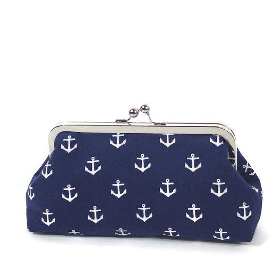 Navy White Nautical Anchor Clutch/Navy Blue White Wedding Accessory/Nautical Purse