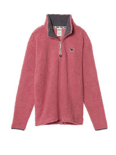 Sherpa Boyfriend Quarter-Zip PINK size  XS color pink