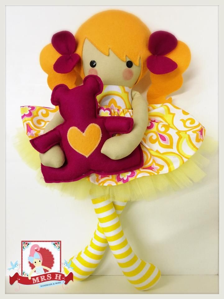 """19"""" handmade doll with removable skirt, tutu and teddy bearCE marked and suitable for all agesHandwash only"""