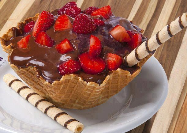 simple yet delicious....Hershey's syrup with strwberries