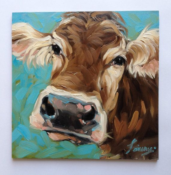 Cow Painting, 6x6 inch original oil painting of a Cow, cow portrait, cow art…