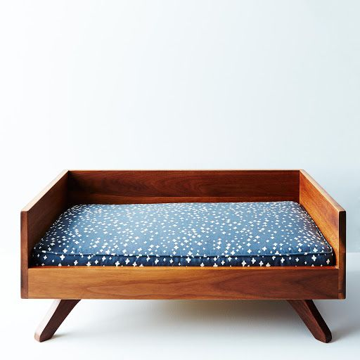 Mid-Century Modern Luxury Dog (or Cat) Bed, handcrafted out of solid wood with removable cushion made of easy to wash organic cotton; pet furniture exclusive to Provisions by Food52