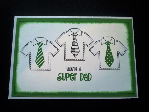 Green Super Dad Card. Fathers Day/ Birthday by VickieLouDesigns