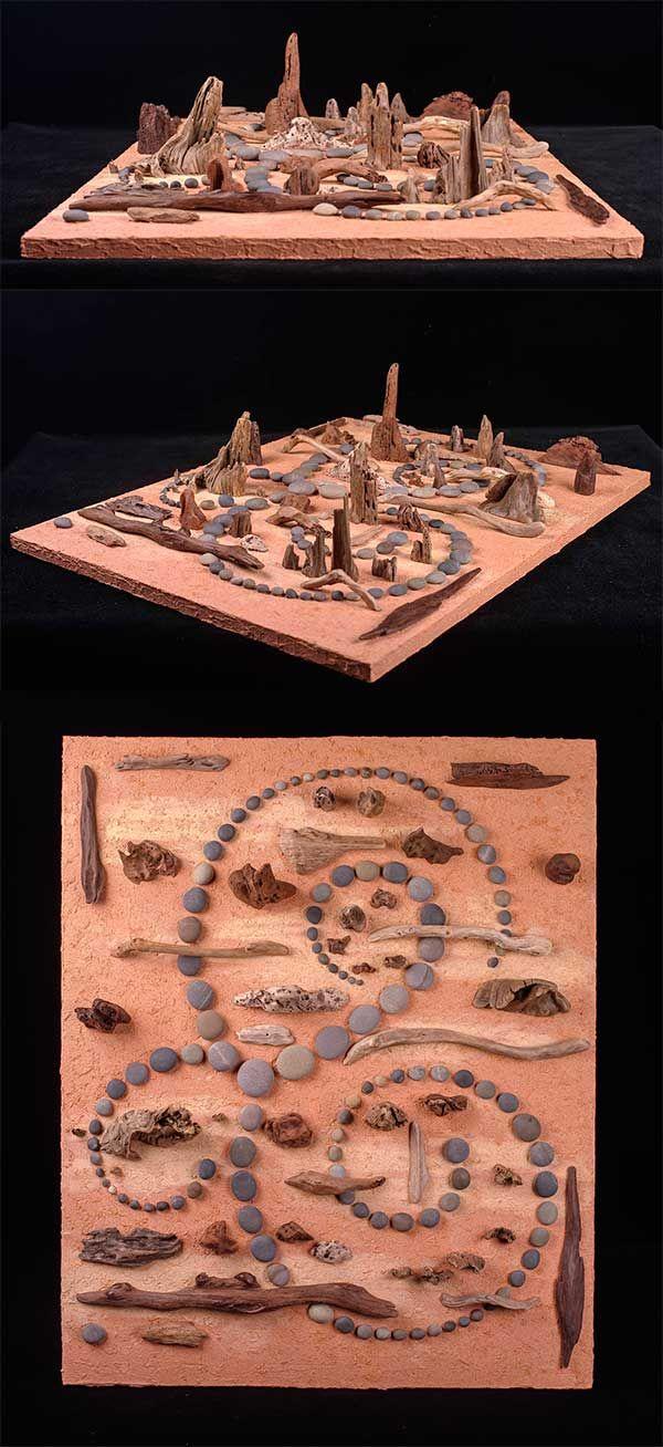 #屋久島 の #流木 と石のアートー4 ★ #流木アート #インテリア #Driftwood Art #Interior