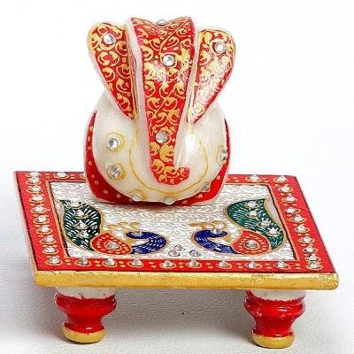 Painted Peacock Chowki and Ganeshji with stone work #Painted Peacock Chowki For Diwali Poojan