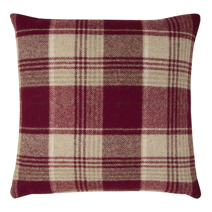 Cranbourne Wool Check Cushion Cranberry at Laura Ashley