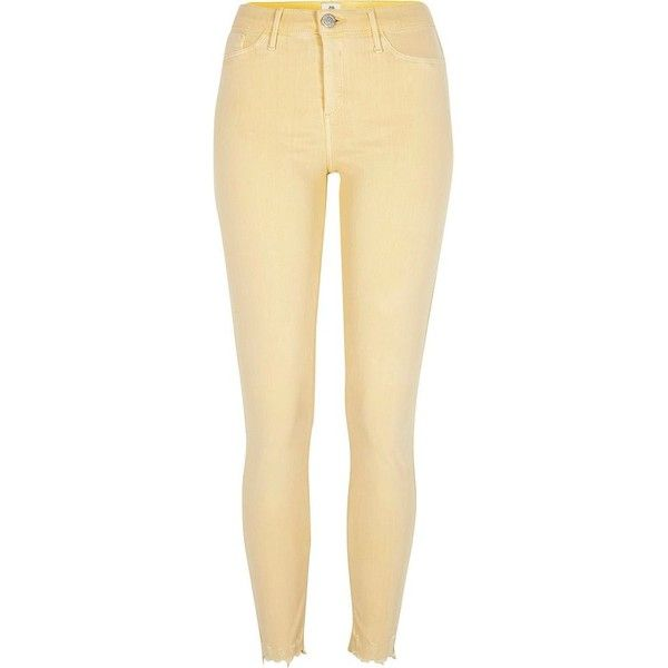 River Island Light yellow Molly released hem jeggings ($84) ❤ liked on  Polyvore featuring - Best 25+ Ripped Jeggings Ideas On Pinterest American Eagle Jeans