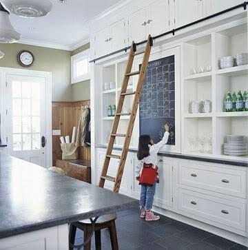 white kitchen, chalkboard, open shelving, ladder