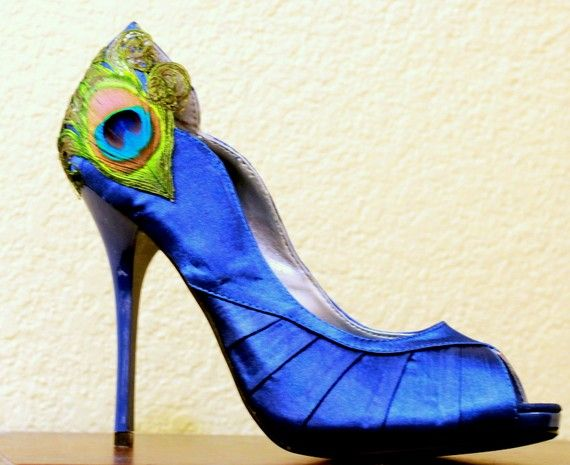 Royal Blue Satin Peacock Peep Toes Pumps  Size 8 by LaPlumeEthere    My bridesmaids shoes!