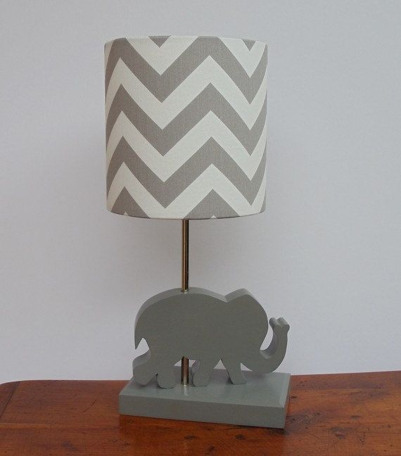 Small Grey/White Chevron Drum Lamp Shade - Nursery, Girl's or Boy's Lamp Shade on Etsy, $25.00