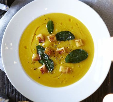 The apple and sage contrast beautifully with naturally sweet butternut squash in this low-fat, gluten-free festive dinner party starter