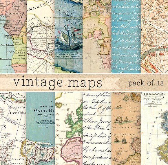 Vintage Maps Digital Paper by ElyseBear on @creativemarket