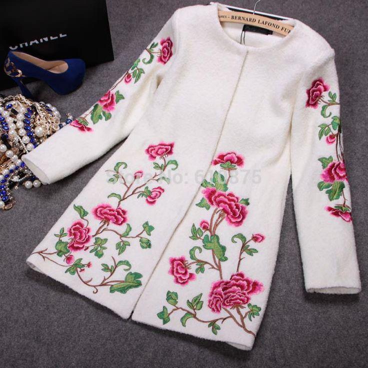 Women Fall winter plus size black white blue Embroidery  handwork  O-neck Cardigan long slim wool blends coat R96 B01 GD11140