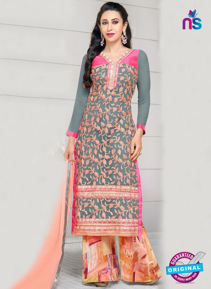 SC 12949 Grey, Pink and Peach Net with Georgette Party Wear Straight Suit