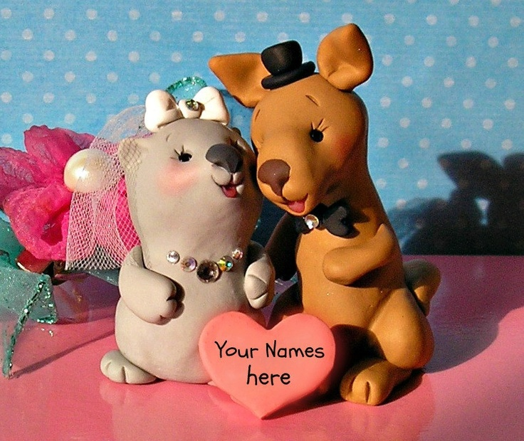 Kangaroo and Wombat in Love Cute and Funny Wedding Cake Topper Personalized on Heart. $85.00, via Etsy.