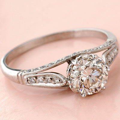 Antique Edwardian Style Platinum .96ct Round Brilliant Cut Diamond Engagement Ring
