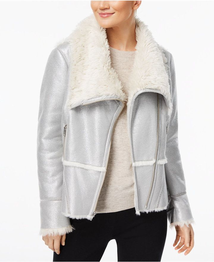 INC International Concepts Petite Faux-Suede Aviator Jacket with Faux-Fur Trim, Created for Macy's