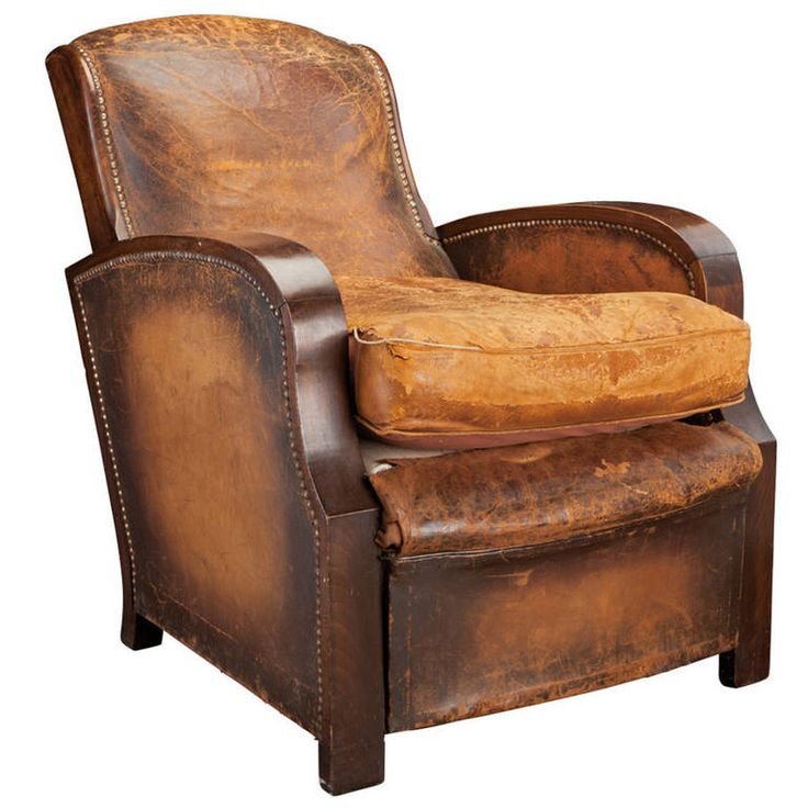 Leather Lounge Chair with Great wooden arms ~ From a unique collection of antique and modern lounge chairs at https://www.1stdibs.com/furniture/seating/lounge-chairs/