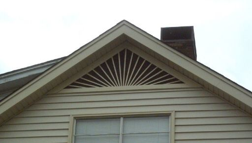 Sunburst gable vent this old house pinterest love for Roof peak decorations