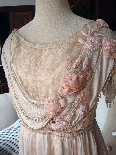 Pictures of antique lace dresses with ribbon roses