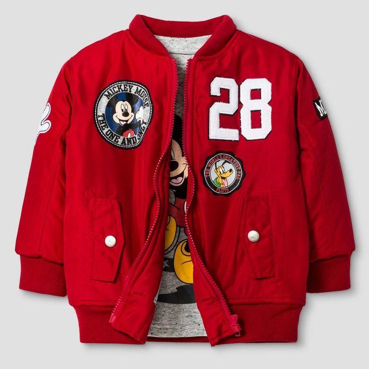 Disney Toddler Boys' Bomber Jacket and Long Sleeve Tee Set - Red 4T, Toddler Boy's