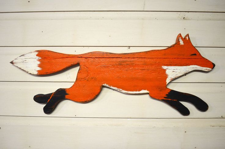 Medium Hand Made Wood Wooden Hand Painted Running Fox Wall Sign Decor Primitive #AmericanaPrimitive
