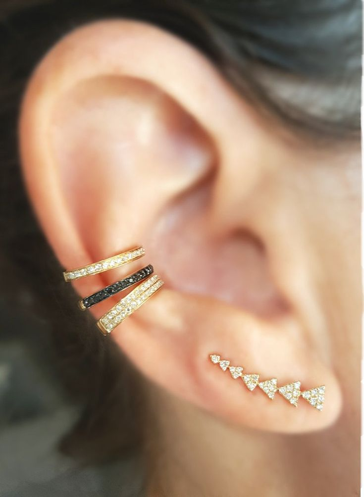Half Double Row Diamond & Gold Ear Cuff - The EarStylist by Jo Nayor - 4