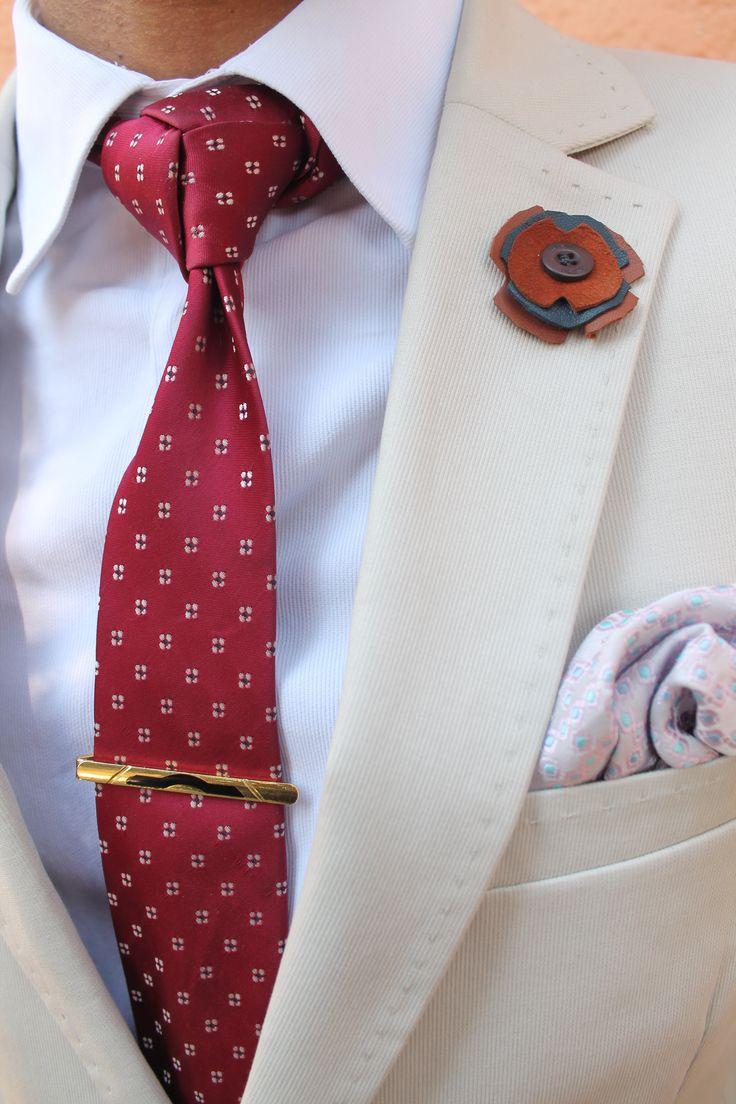 lapel pin, tie clip, tie, pocket square, blazer and shirt. STEEZ