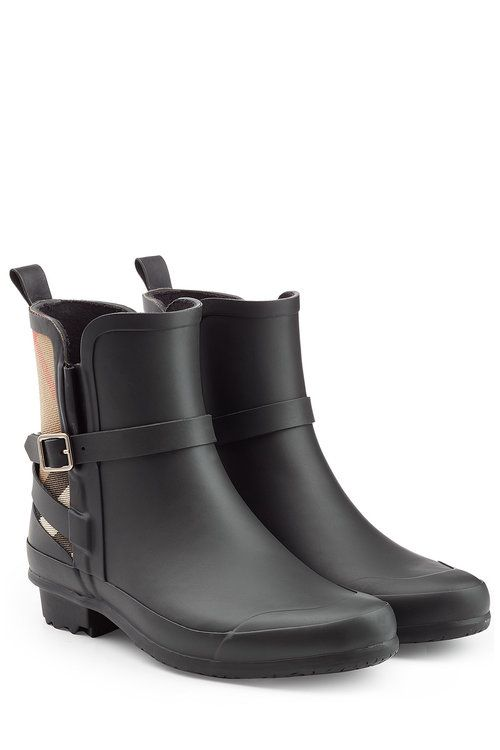 Matte Rubber Rain Boots with Check Panel   Burberry