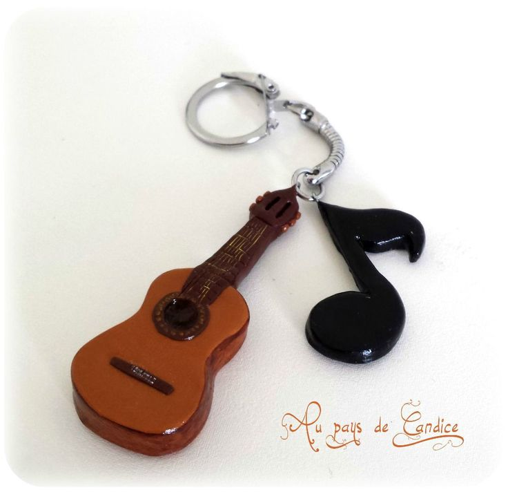 Guitar and note key ring - made with Polymer