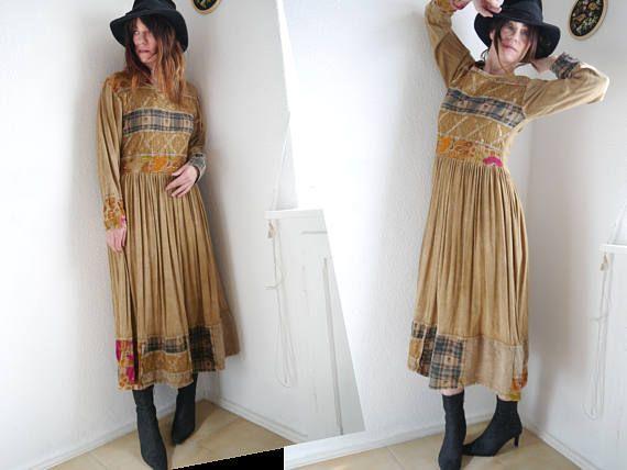 Vintage Boho Kleid Patchwork Kleid Bohemian Maxi-Kleid Langarm Kleid bestickt