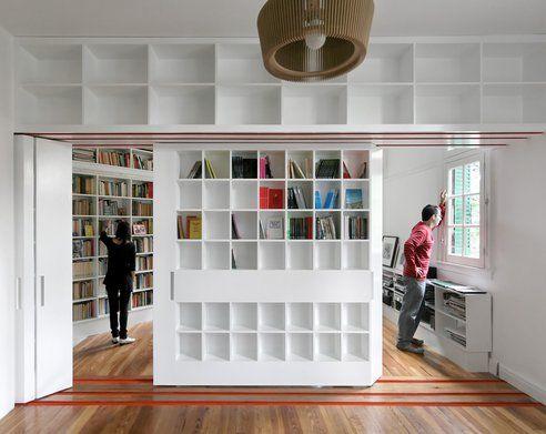 jLibraries Room, Extra Room, Spaces Saving, Living Spaces, Libraries Shelves, Sliding Libraries, Living Room, Room Dividers, Good Air