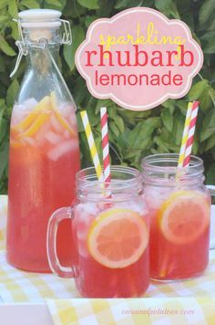 Sparkling Rhubarb Lemonade a refreshing taste of the unexpected! I would use homemade lemonade instead of the frozen but I certainly understand the time saving aspect of that :)