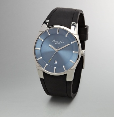 Rubber Strap Watch With Blue Face - Kenneth Cole