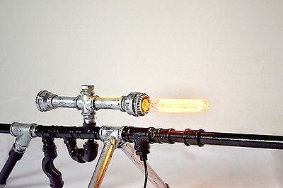 Retro Industrial Gun Shape Water Pipe Desk Lamp Bar Bedroom Originality Light